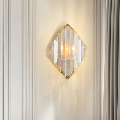 Gold 1/2-Head Sconce Lamp Postmodern Curved Crystal Prism Wall Mount Light Fixture
