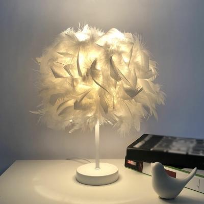 Minimalist Sphere Night Lamp Feather 1-Light 8.5