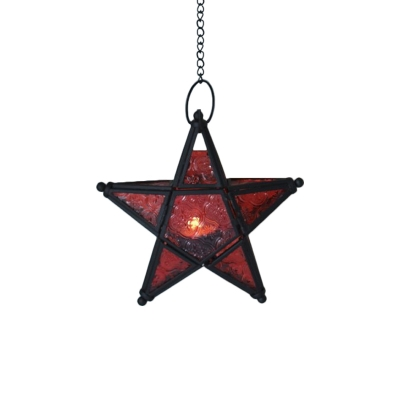 Red/Blue/Clear Textured Glass Star Pendant Moroccan 1 Light Bedroom Pendulum Light in Black