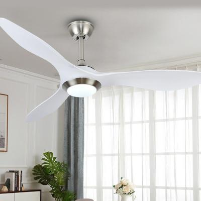 3-Blade White Petal Semi-Flush Mount Nordic Style Acrylic LED Hanging Fan Light Fixture, 48