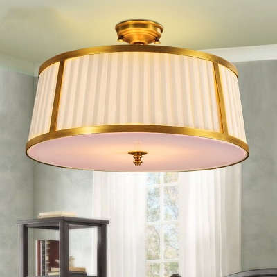 4 Bulbs Close to Ceiling Light Vintage Drum Shaped Pleated Fabric Flush Mounted Lamp in Brass