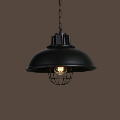 Bowl/Barn/Saucer Metal Hanging Lamp Rustic Single-Bulb Bistro Ceiling Pendant Light with/without Cage in Black