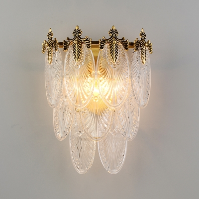 Layered Oval Crystal Wall Lamp Postmodern 2 Lights Gold Sconce Lighting with Peacock Tail Design