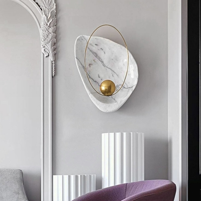 Postmodern LED Flush Wall Sconce Black/White Marble-Look Petal Wall Lamp with Metal Shade