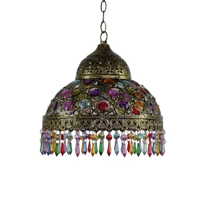 Copper/Bronze Single Pendant Light Turkish Iron Hemisphere Hanging Light Fixture with Beaded Fringe, 12