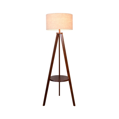 Drum Reading Floor Lamp Nordic Fabric 1 Bulb Beige/Brown Tripod Standing Light with Inserted Wood Rack