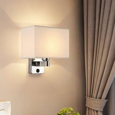 Oval/Square Fabric Wall Mount Lamp Minimalist 1 Head Black/Beige/White Wall Sconce Lighting for Bedroom