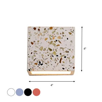 Terrazzo Cube Wall Washer Sconce Simplicity 1-Light Red/Blue/White Mini Wall Mounted Lamp for Living Room