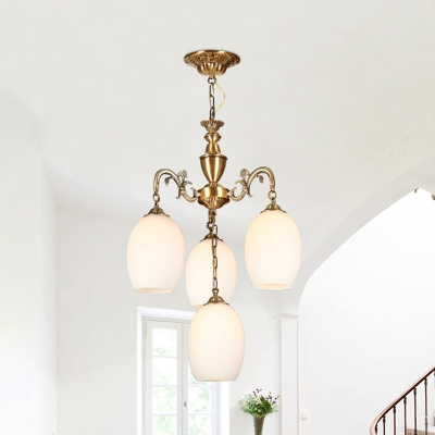 4/6 Lights Hanging Pendant Antique Living Room Chandelier with Oval White Glass Shade in Bronze
