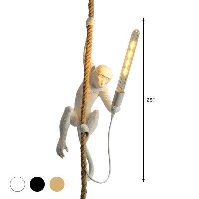 Art Deco Monkey Hanging Lamp Resin Single-Bulb Kids Bedroom Down Lighting Pendant in Black/White/Gold