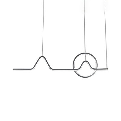 Black/Gold Linear LED Hanging Pendant Minimalist Metal Landscape Outlined Ceiling Suspension Lamp in Warm/White Light