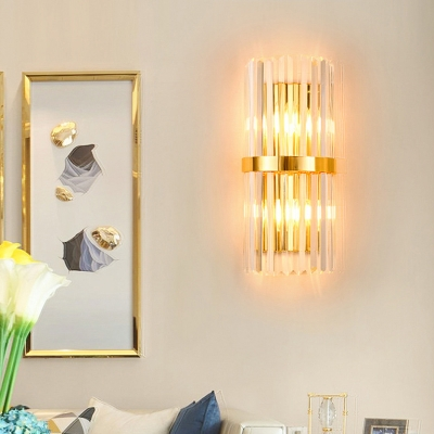 Cylinder Living Room Flush Wall Sconce Crystal Rod 2-Bulb Modern Style Wall Light in Gold