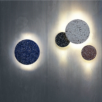 Round Terrazzo Slate Sconce Lamp Artistry Black/White/Pink LED Wall Mount Light Fixture, 7