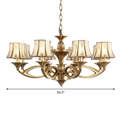 5/6/8 Bulbs Frosted White Glass Hanging Lamp Vintage Brass Flared Bedroom Ceiling Chandelier, Small/Medium/Large