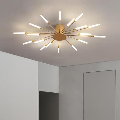 Acrylic Starburst Semi Mount Lighting Modern 12/18/28 Bulbs LED Close to Ceiling Light in Black/Gold