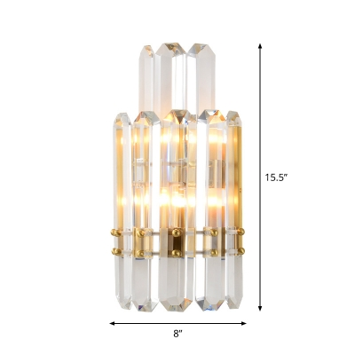 Prismatic Crystal 2-Tier Wall Light Modern 2 Lights Gold Wall Light Sconce for Dining Room