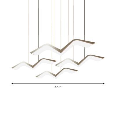 White Seagull Multi-Light Pendant Minimalistic 2/3/5 Lights Acrylic Hanging Lamp in Warm/White Light