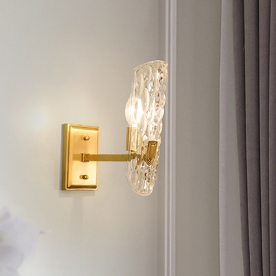 Minimalist Shaded Wall Sconce Clear Dimpled Glass 1 Bulb Living Room Wall Mount Lamp in Gold