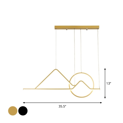 Sunrise Mountain Metal Ceiling Pendant Simplicity Black/Gold Linear LED Hanging Light Fixture in Warm/White Light