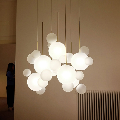 Frosted Blown Glass Bubble Cluster Pendant Novelty Modern 5 Lights Brass Suspension Lamp