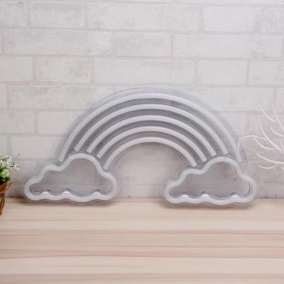 White Rainbow Cloud Night Light Cartoon Plastic LED Wall Night Lamp with USB Port