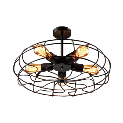 5-Bulb Semi Flush Mount Chandelier Industrial Bedroom Ceiling Light with Round Iron Cage in Black