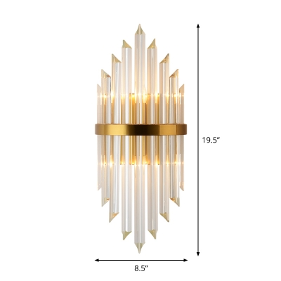 Hexagon/Tiered/Half-Cylinder Wall Lamp Modern Prismatic Crystal 1/2/3-Light Living Room Sconce Light in Gold