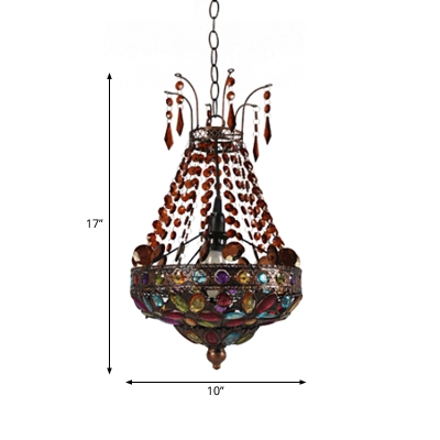 Basket Shaped Stained Glass Pendant Lamp Moroccan 1-Light Living Room Ceiling Suspension Lamp in Copper