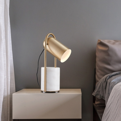 Gold Elongated Dome Table Lamp Post-Modern 1 Bulb Metal Adjustable Nightstand Light with White Marble Base