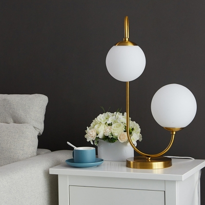 Ivory Glass Ball Table Light Postmodern 1/2-Light Nightstand Lamp with Bend/Curved/S Arm in Gold