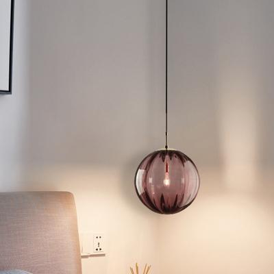 Pumpkin Shaped Ceiling Hang Light Modern Blue/Purple/Smoke Glass 1 Head Dining Room Down Lighting Pendant