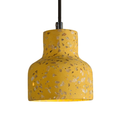 Terrazzo Bottle Mini Hanging Light Loft Style 1 Bulb Dining Table Suspension Pendant in Red/Pink/Blue