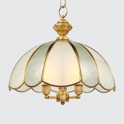 Brass 3 Lights Chandelier Pendant Traditional Frosted and Seedy Glass Scalloped Hanging Lamp