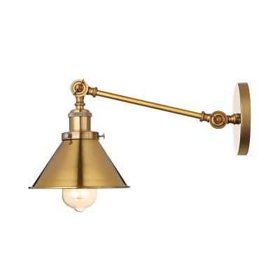 Brushed Brass Finish 1 Light Wall Sconce with Cone Shade for Barn Warehouse