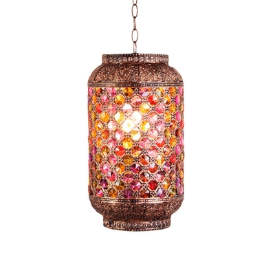 Elliptical Kitchen Bar Hanging Light Bohemian Stained Glass 1 Head Copper Finish Down Lighting Pendant