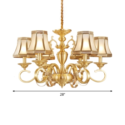 Flared Frosted Glass Chandelier Traditional 6/8/12 Heads Living Room Small/Medium/Large Pendant Light with Scroll Arm in Brass