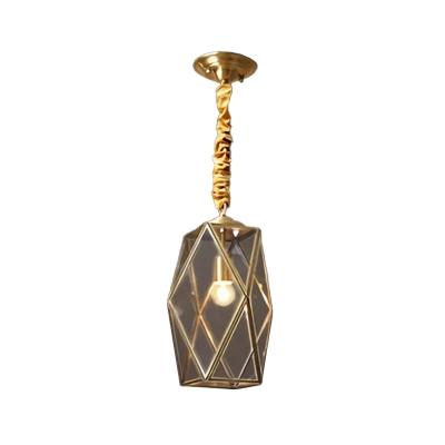 Single Gem Shaped Pendant Light Retro Brass Clear/Seedy Glass Down Lighting over Table