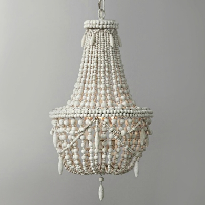 3 Lights Chandelier Pendant Vintage Basket Wooden Suspended Lighting Fixture in Grey/White