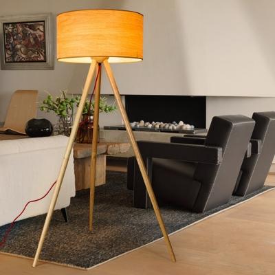 Beige Drum Tripod Reading Floor Light Minimalist 1-Light Wood Stand Up Lamp for Living Room