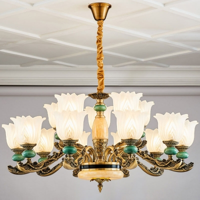 Flower Bedroom Ceiling Light Retro Frosted White Glass 6/8/15 Heads Emerald Chandelier Lamp