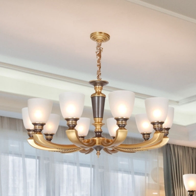 Frosted White Glass Bell Pendant Light Traditional 6/8/15-Light Bedroom Chandelier in Antiqued Brass