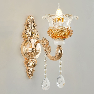 Glam Modern Blooming Chandelier Clear and Amber Glass 12/15/18-Bulb Living Room Wall Light in Gold