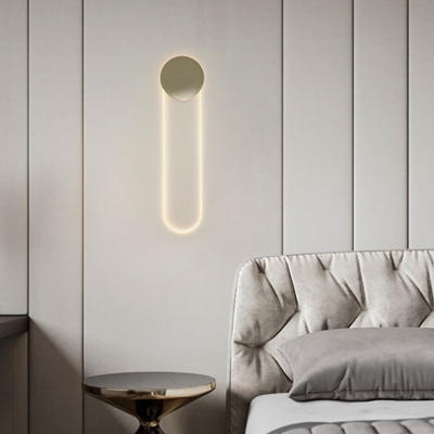 Gold Oblong LED Wall Sconce Minimalist Metal Wall Mounted Lamp for Bedroom, 22