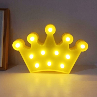 Plastic Crown/Angel/Swan Night Lighting Kids Style Yellow/Blue/White LED Nightstand Lamp for Birthday Party Decor