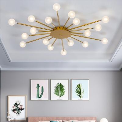 Post Modern Starburst Ceiling Light Milk Orb Glass 18 24 30 Heads Bedroom Flush Mount Chandelier In Black Gold Beautifulhalo Com