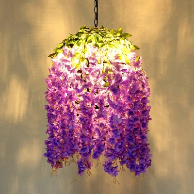 Purple Wisteria Spherical Hanging Lamp Country Style Iron 1 Head Bar Ceiling Pendant, Small/Large