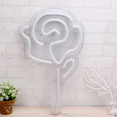 Romantic Modern LED Night Lamp White Rose Bouquet Mini Table Light with Plastic Shade