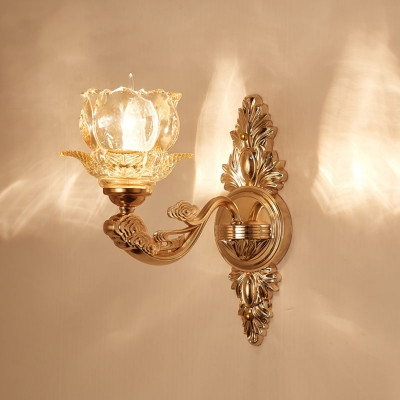 1/2-Head Wall Light Fixture Traditional Tapered/Flared/Ruffle Frost Glass Wall Mounted Lamp for Dining Room