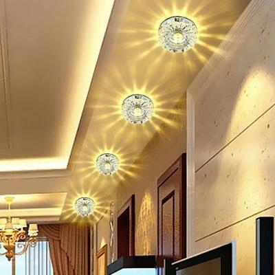 3/5w Flower Living Room Flush Mount Lighting Carved Crystal Modern LED Ceiling Light in White/Tan/Blue, Warm/White/Multi-Color Light