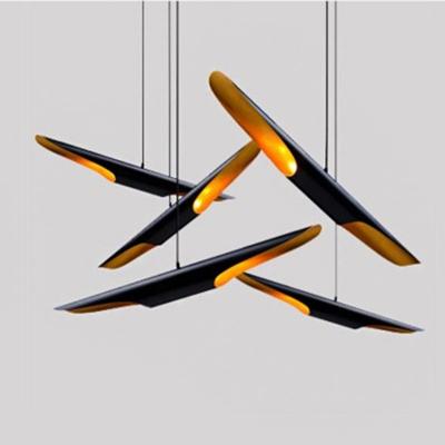 Bias Cut Metal Pendant Light Fixture Postmodern 2 Bulbs Black Hanging Lamp Kit, 23.5